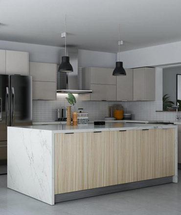Kitchen Modern Teak UV | Cabinets and Granite Direct